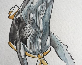 Sailor humpback whale A4 watercolour