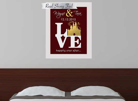 Personalized Disney Wedding Gifts: Shiny Gold Foil Disney Wedding Gift Disney Couples Gift