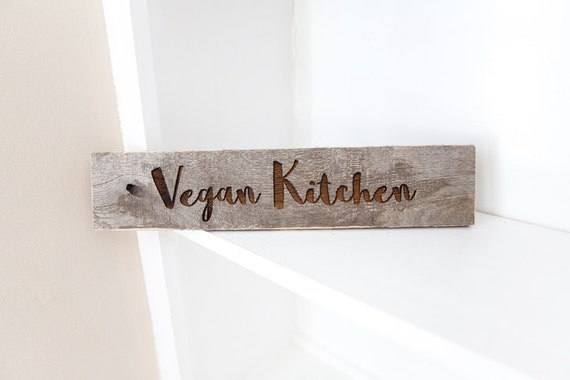 "Christmas gifts for vegans: Rustic ""Vegan Kitchen"" sign"