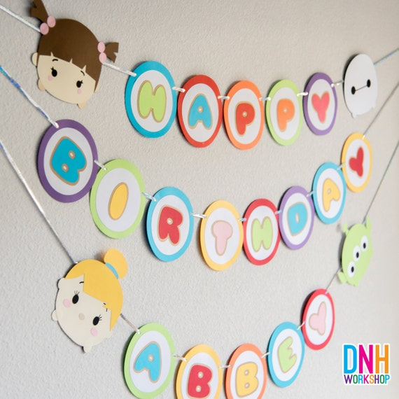 TSUM TSUM Happy Birthday Banner by DnHWorkshop on Etsy