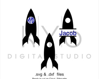 Space Rocket Circle Split Monogram Frame SVG DXF cutting files for Cricut Silhouette Brother