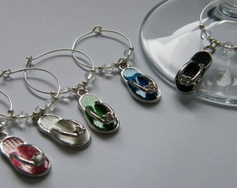 Set of 5 Flip Flop Wine Glass Charms