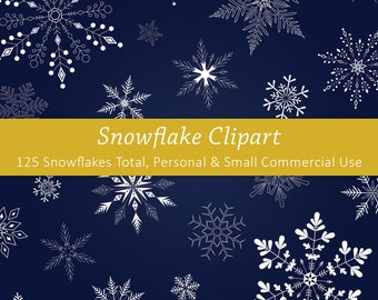 Snowflake Clipart | Digital Scrapbooking | INSTANT DOWNLOAD | PNG files | 300 dpi | 125 snowflake pack