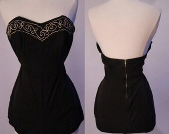 1950's Black Lycra Sea Fashions Swimsuit