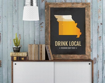 Missouri Beer Print Map - MO Drink Local Craft Beer Sign - Boyfriend Gift, Husband Gift, Beer Gift, Beer Art, St Louis,Kansas City Poster