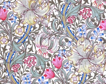 Art Nouveau Wallpaper FLOWERS. William MORRIS Floral Pattern Lily Design. Arts & Crafts. Digital William Morris Download.