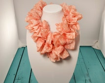 20% SALE!  Lightweight Scarf - Ruffle Scarf - Child's Scarf - Crochet Ruffle Scarf - Infinity Scarf - Polka Dot Scarf - Gifts for Her