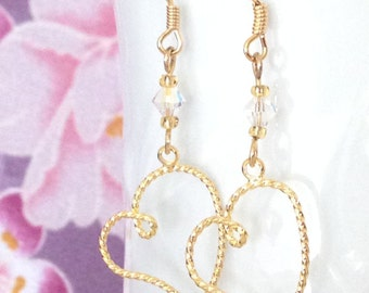 Gold Open Heart with Swarovski Crystal, dangle Earrings, with 14K gold ear wires.