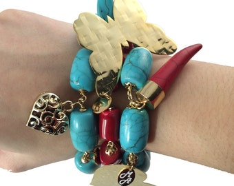Bracelets with Turquises and red Coral stones