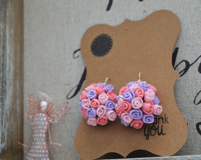 Handmade Silver Rose Earrings, Rose Clay Earrings, Rose Wedding Earrings, Silver Bridal Earrings, Flower Ball Earrings, Bridesmaid Gift