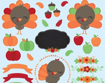 Cute Fall Turkey clipart, Autumn clipart, Thanksgiving clipart, Pumpkin clipart, Harvest clipart, Apple clipart, Commercial License Included