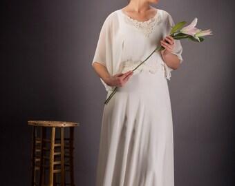 Vintage wedding dress,  Chiffon Wedding dress, Chiffon wedding dress, Ivory Bridal dress, Chiffon bridal dress, Wedding dress