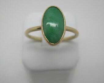 Antique Victorian 14 carat gold Chrysoprase ring