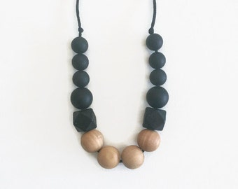 Silicone and Wood Teething Necklace - Parker in Black - chewable necklace, teething necklace, nursing, teething, tuggable, wood beads