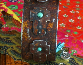 Rustic, Ranch Style, Triple Cross with Turquoise Cuff