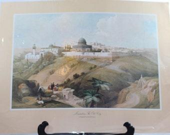 Vintage Lithograph Jerusalem, David Roberts,  Jerusalem,  The Old City
