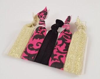 Girls hair ties - black, gold glitter and pink hair elastics - toddler hair ties, young girl hair ties