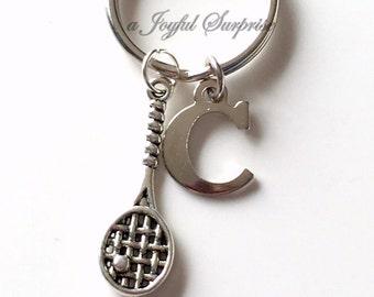 Racquetball Keychain, Squash Racket Key Chain, Silver Tennis Keyring, Racket KeyChain, Racquet Ball Jewelry Letter birthstone initial custom