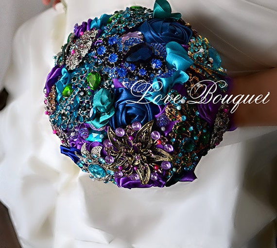 Bridal Bouquet Made Of Jewels : Purple brooch bouquet peacock wedding by lovebouquet