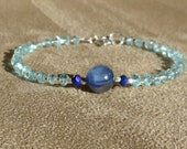 Apatite Bracelet, Apatite Silver, Gemstone Bracelet, Kyanite Bracelet, Contemporary, Blue Bracelet, Blue Anklet, Gemstone Anklet
