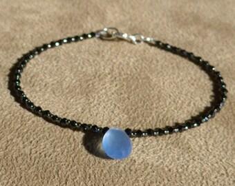 Black Spinel Bracelet, Blue Chalcedony Bracelet, Gemstone Bracelet, Blue Bracelet, Black Bracelet, Skinny Bracelet, Black Anklet, Dainty