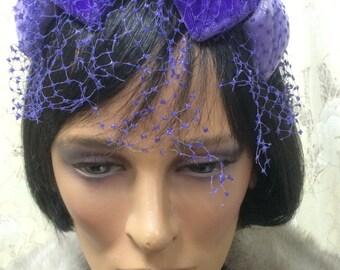 Vintage 1950s Purple Fascinator
