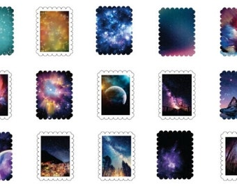 Space Stickers - 45 Piece Set - Universe, Stars, Planets, Outer Space, Solar System, Galaxy, Constellation, Astronomy