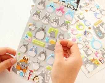 Totoro 3D Sticker Sheet, Glow-in-the-Dark, Luminous, Cute Kawaii Puffy Stationary, Decoration Label