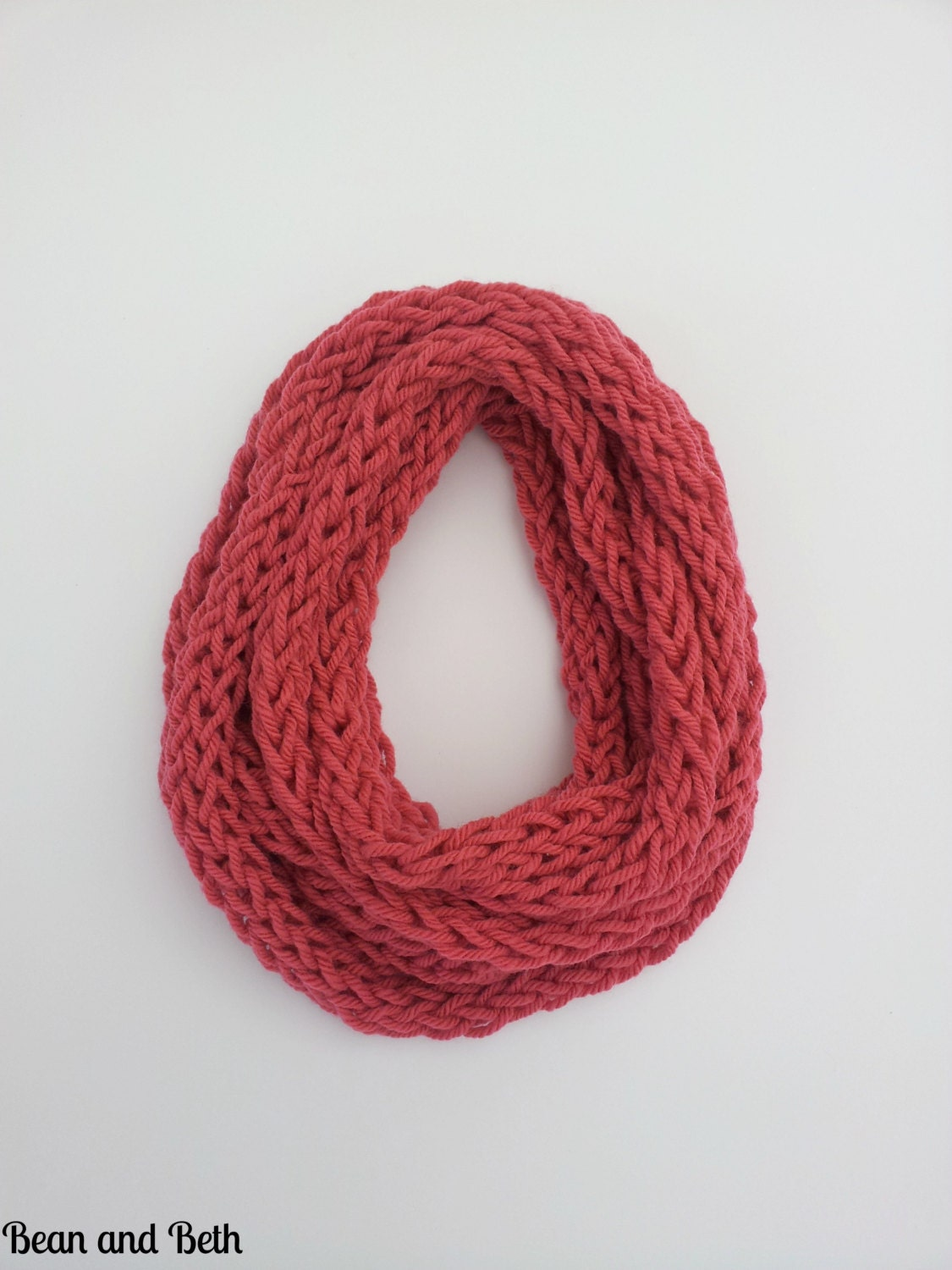 pink finger knit scarf handmade using soft chunky by