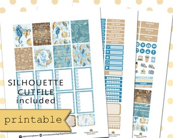 Printable Planner Stickers/Planner Stickers for use with Erin Condren Life Planner/Sea and Sand Weekly Planner Sticker Kit/Summer Stickers