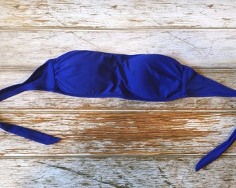 Wholesale LOT of 12 BLANK Royal Blue Bandeau Swimsuit Top - Bikini, Bathing Suit, Strapless, Halter Tops - Embroidery or Heat Vinyl Transfer