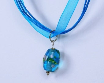 SALE necklace underwater rose of larger glass pendant on the blue fabric strap - unikat - SALE - offer jewelry blue glass bead glass beads pink