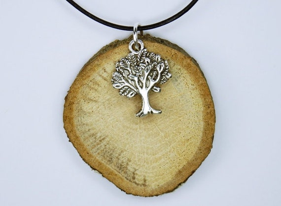 Necklace Tree of Life on oak wood on black leather strap-natural-unique-Silver Tree pendant jewelry Tree of life wood