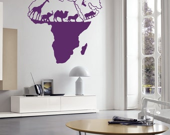 Wall Decal Vinyl Sticker Wild Nature Animal World Map Of Africa Continents Home Decor Office Childrens