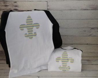 Mardi Gras shirt  Fleur de Lis Chevron print Raglan shirt