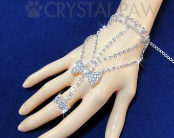 Crystal Hand Jewelry. Rhinestone Bow. Sparkling Slave Bracelet. Hand Chain. Body Chain. Gypsy chain. Boho Bracelet. One piece.