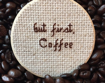 But First Coffee Mason Jar, Mason Jar Decor, Coffee Decor, Coffee Container, Gift for Foodies, Cross Stitch, Kitchen Decor, Mason Jar Lid