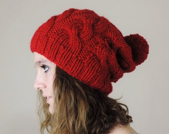 Christmas Hat, Red (or Choose Color) Hand Knitted Beanie, Slouchy Beanie, Cable Knit Hat, Pom Pom Beanie, Mens Wool Hat, Red Beanie