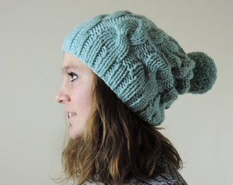 Mint Green (or Choose Color) Hand Knitted Beanie, Slouchy Beanie, Cable Knit Hat, Pom Pom Beanie, Mens Wool Hat, Womens Cabled Beanie
