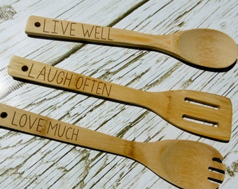 Live Well, Laugh Often, Love Much, Custom Kitchen Utensils, Personalized, Laser Engraved, Housewarming, Kitchen Gift, Engraved Kitchen Tools