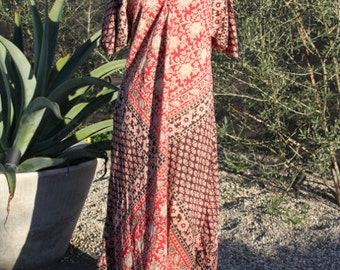 vintage indian cotton kaftan maxi dress one size