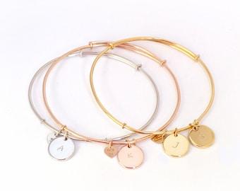 Initial bangle bracelet, initial bracelet, bangle bracelet, handstamped bracelet, personalized disc bracelet, sterling silver bracelet