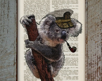 Captain Koala With Pipe, Captain Koala, Captain With Pipe, Old Dictionary Page Print, Book Page Print, Vintage Book Page Print