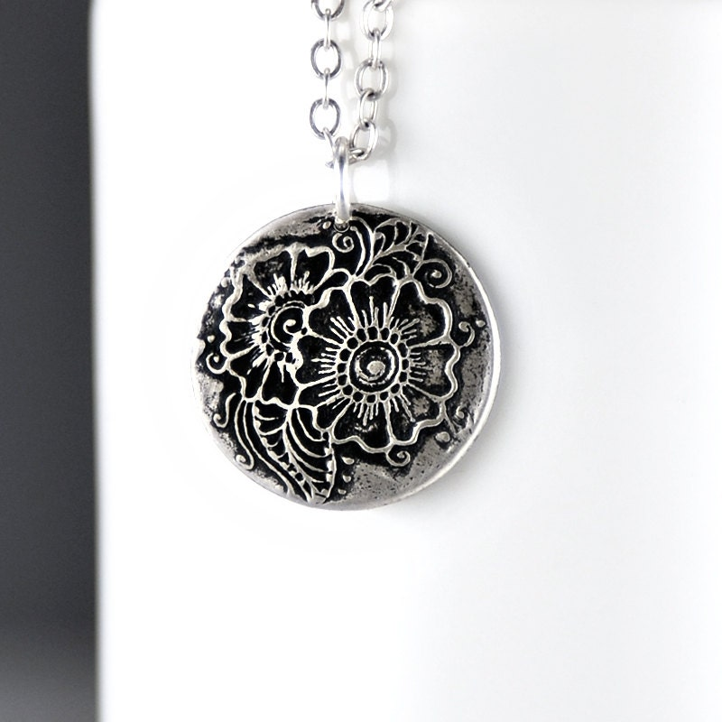 Mehndi Flower Jewelry Mississauga : Henna flower necklace silver charm by solsticajewelry