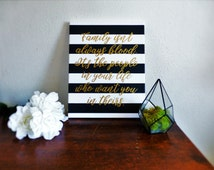 Family Quote Canvas - Canvas Quote - Black and Gold Home Decor - Hand Lettered Canvas - Quote Sign