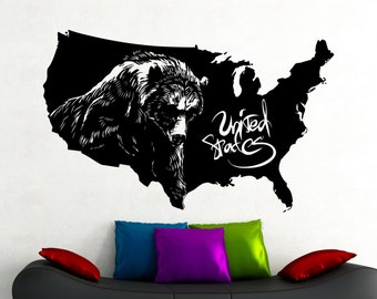Bear Wall Decal Etsy - Vinyl stickers design