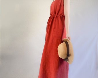 The Garden Dress: Women's Linen Maxi Dress in Red