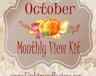 Planner Stickers October 2017 Monthly View Kit