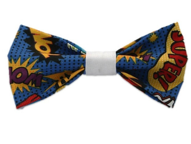 pow bow tiecomic book nerdy dorkydog accessoriesgifts