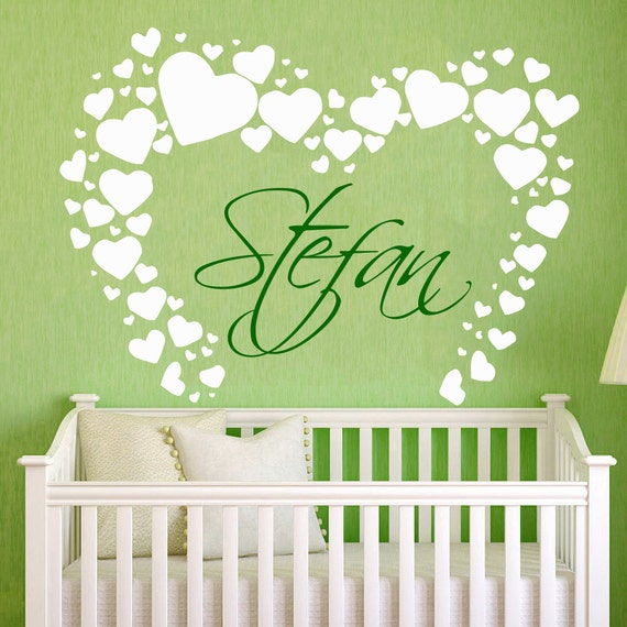 Name Wall Decals For Nursery Tags: Name Wall Decal Nursery PERSONALIZED BABY NAME By
